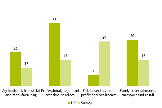Figure A3.2: block graph showing percentage of organisations in different industrial business sectors