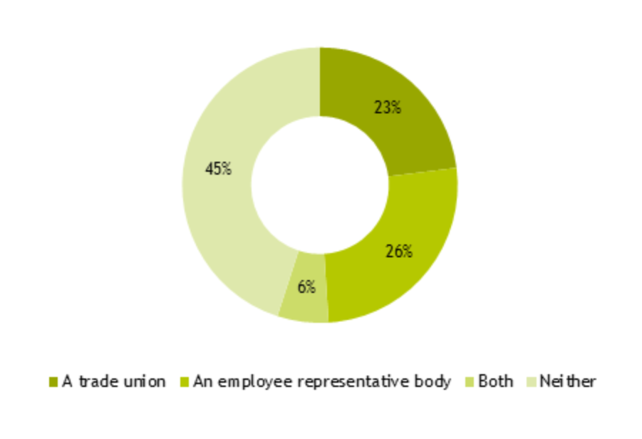 Figure 22: pie chart showing responses to 'Is there a recognised trade union or employee representative body at your organisation? (% of respondents)