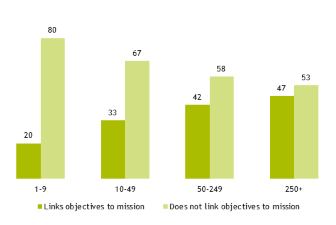Figure 10: graph showing the proportion of organisations that link an individual's objectives to the organisation's overall mission by different organisational sizes (% of respondents